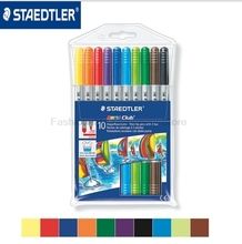 STAEDTLER 320 NWP10 10 color Water-soluble Art Markers Pens set Crude & fine double - headed watercolor pen painting graffiti