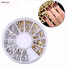 AddFavor 1Pack Gold Silver Color Nail Art Decoration Rivet Stars Rhomb Triangle Waterdrop Shape Dotting Manicure Nail Art Tools