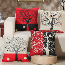 Red Black Wish Tree Cushion Covers Printed Home Decoration Cotton Linen Sofa Pillow Cover Car Pillowcase Square 45x45cm KDT615