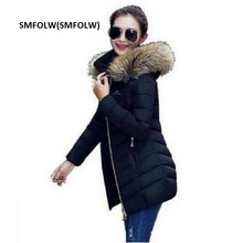 SMFOLW 2017 Womens Winter Down Coat Thick Warm Women Jacket Hooded Raccoon fur collar Female Parkas Jackets Fashion Slim Coats