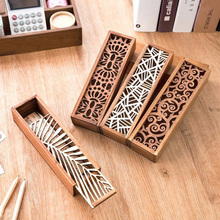 Hot 1pcs Hollow Wood Pencil Case Storage Box Creative Students Cute Wooden Pencil Box Multifunction Stationery School Gift V2827(China)