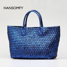HANSOMFY woven bag snake embossed color electric commuter hand woven shopping bags for new all-match(China)