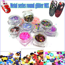 1Box3D Neon Mixed Colors Round Dot Glitter Paillette Spangle Shapes for Nail Art Glitter Craft Decoration and Makeup 1mm/2mm/3mm