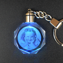 Customized Octagonal Crystal Crafts Changing Colors LED Lighting Keychain Laser Engraved Pictures Glass Ornaments For Home Decor