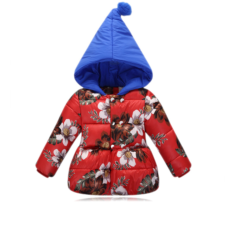 children winter jackets for girls 2017 new winter floral printed down jackets for girls hooded thicken warm kids parka coat Одежда и ак�е��уары<br><br><br>Aliexpress