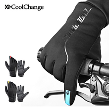 CoolChange Winter Cycling Gloves Thermal Warm Windproof Full Finger Bike Gloves Anti-slip Touch Screen Bicycle Gloves Men Women(China)