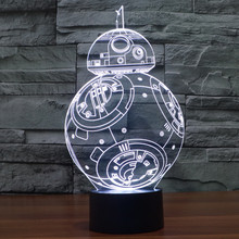 Creative Gifts Star Wars BB-8 Lamp 3D Night Light Robot USB Led Table Desk Lampara as Home Decor Bedroom Reading Nightlight(China)