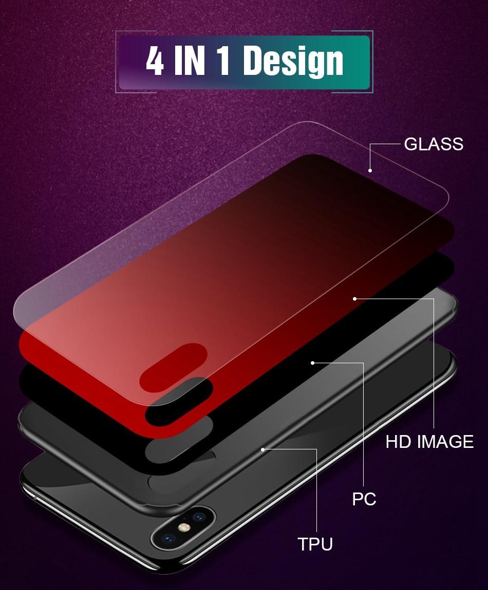 iPhone X Xr Xs Max豪华硅胶手机壳适用于iPhone 6的iPhone 7 8 Plus手机壳适用于iPhone 6 6S Coque的渐变钢化玻璃保护套(3)