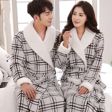 Autumn Winter Couples Bathrobe Women Robes Long Mujer Robe Thickening Coral Fleece Flannel Leopard Nightgown(China)