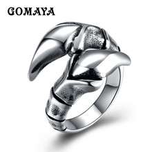 GOMAYA Fashion Jewelry Retro Burnished Eagle Talon Toe Claw Rings Encircle Paw Animal Ring for Men Party Rings Cool Bijoux(China)