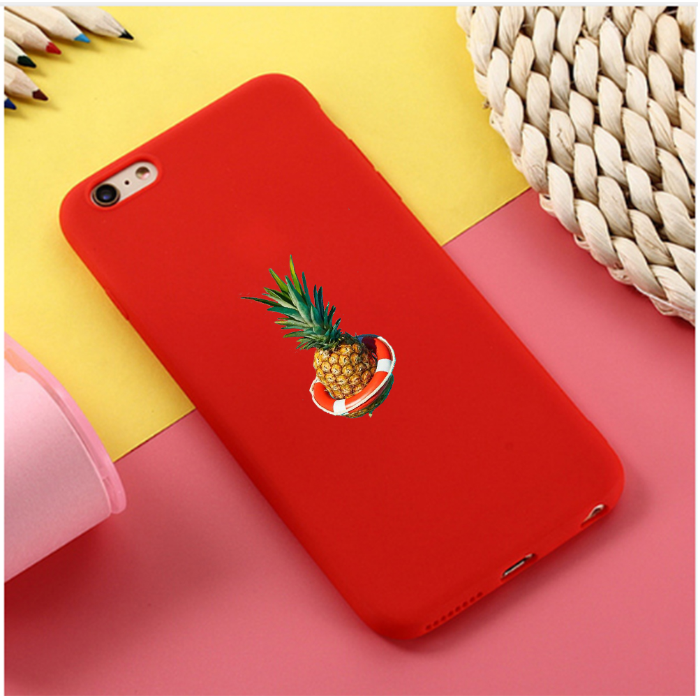 Candy Color phone Case Cartoon Pineapple For iphone X 7 8  XR XSMAX Black silicone case Pink Red Black Yellow purple White Cover