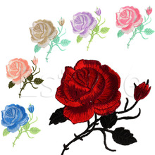 E74 1 PC chinese-market-online Rose Flower Iron-On Embroidered Patch Better Handmade Motif Garment Decoration DIY Craft