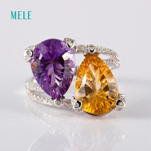 Natural amethyst and citrine silver ring , concave cutting , good fire and good quality, 10mm*14mm in pears
