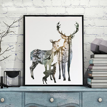 Nordic Deer Animals Forest Wall Art Wall Picture Canvas Prints Canvas Art Poster Oil Paintings for Living Room Wall No Frame