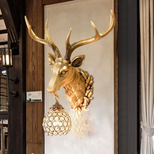 Retro retro wall lamp antlers wall room living bed bedside Deer head lampgarden decoration home decoration accessories statue
