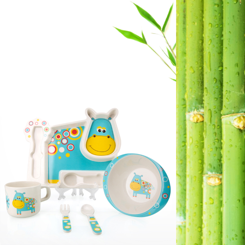 2017 Brand New Bamboo Tableware For Children Baby Feeding Set Plate Bowl Cup Fork Spoon Infant Dishes Baby Dinnereware Food Sets (13)