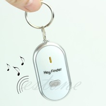 White LED Key Finder Locator Find Lost Keys Chain Keychain Whistle Sound Control