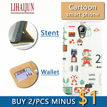 LIHAIJUN Fashion Cartoon Flip Pu Leather TWO Card wallet Phone Case For Nomi i503 Jump Case Cover Free Shipping