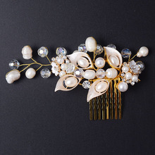 wedding party romantic handmade knitted pearl with beads hair comb hair accessories bride hair jewelry