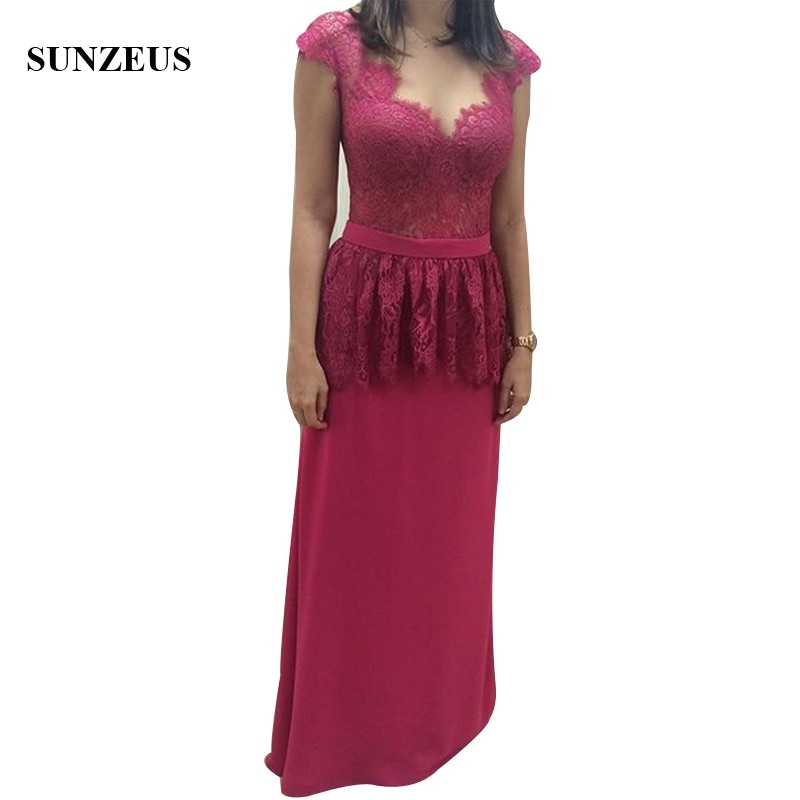 Illusion Neck Cap Sleeve Lace Mothers Dresses For Wedding Sexy Backless Lady Party Gowns Long Fuchsia Formal Dress Novia Vestido