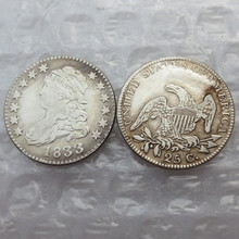 United States 1833 CAPPED BUST QUARTER DOLLARS(NO SCROLL ON REVERSE ) COPY COINS