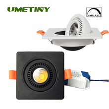 UMETINY SQUARE 3000K~6500K Dimmable LED Downlights AC85-265V 3W 5W 7W 10W 15W Bulbs Rotation Recessed COB Downlight Spolight(China)