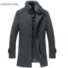 Single Breasted Coat and Wool Jackets Men Casual Warm Snow Coats Winter Men's Woolen Jackets With Fur Collar Plus Size XXL XXXL(China)