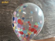 5pcs/lot 12inch Clear Mixed Tissue Paper Confetti-Filled Balloon For Wedding Baby Shower Birthday Party Table Supplies(China)