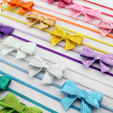 20colors 2017 Mini 1.8'' Sequin Bows Headband Elastic Thin Headbands Infantile Girl Boutique Hair Bow Hairband  20pcs/lot