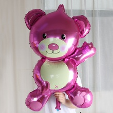 Free Shipping Happy Birthday Bear Balloons 95*65cm New Mini Bear Teddy Bear Aluminum Foil Balloon Hildren Birthday Party Balloon