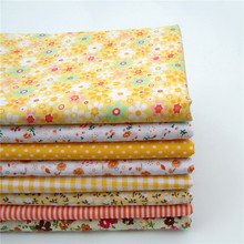 "(8 pieces/lot) yellow cotton diy patchwork floral quilting textiles for bags curtain tissue 40*50cm (15.7""x19.7"")"
