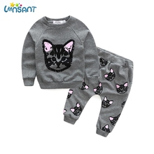 LONSANT Brands Newborn Baby Girl Clothes Long Sleeve Cute Cat Hoodie Pants 2017 Spring Autumn Kids Clothing Set Dropshipping