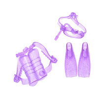 1 Set Doll Diving equipment Accessories Plastic oxygen tank Swimming Glasses Feets For Barbie Doll Girl Birthday Best Gift