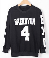 Fashion exo black o neck hoodies kpop exo member name printed pullover sweatshirt all members  fans supportive chandal