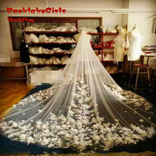 Luxury Full Flowers Bridal Veils 2016 Wedding Veil accessories Long 3 Meters Lace Applique Length Cathedral casamento(China)