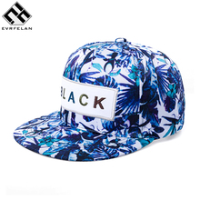 Flower Label Snapback Cap Hip Hop Cap Floral Casquette Snap Back Fashion Baseball Cap Gorras Men Sport Snapback Hat Women(China)