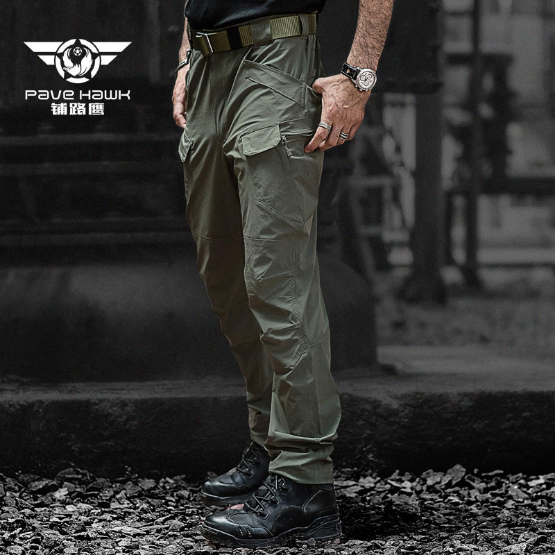 PAVE HAWK Summer New IX7 elastic quick drying pants Outdoor hiking pants Light breathable fabric Military tactical combat pants<br>