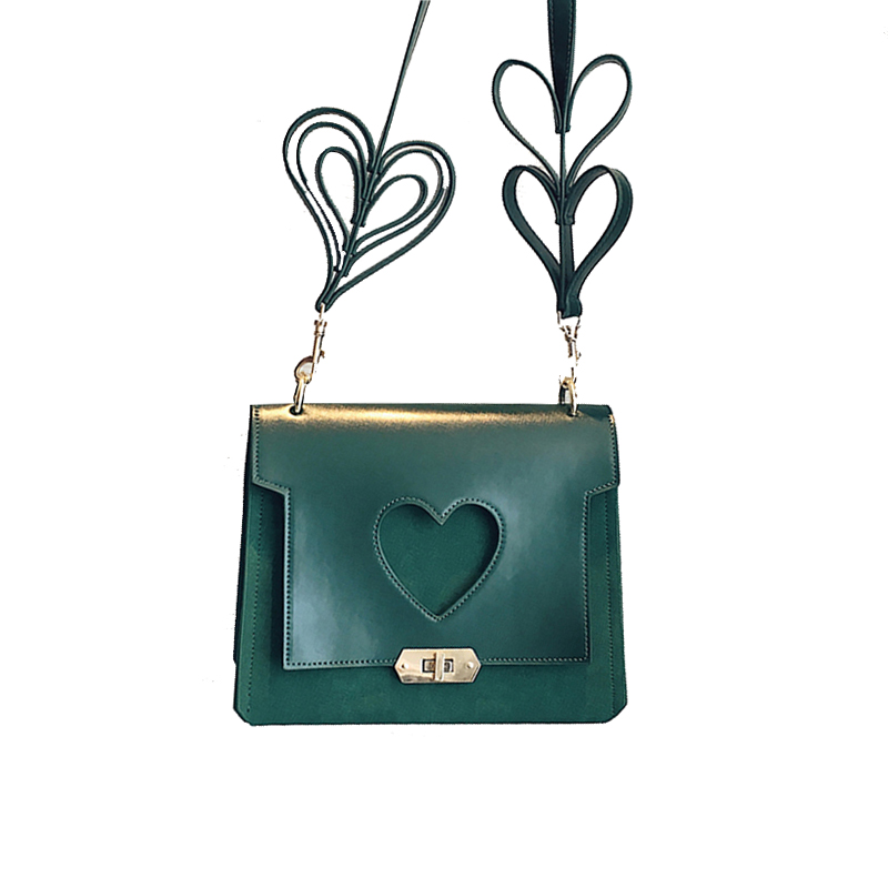 Personality love shoulder strap design women shoulder bags sweet girl handbag PU leather Hollow love messenger bag for ladies<br>