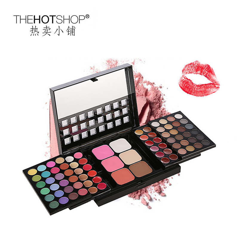 78colors makeup set lip gloss eyeshadow blush kit cosmetic maquiagem holiday box eyeshadow makeup with mirror<br>