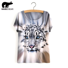 Summer Style White Tiger 3D Print T-Shirt Women Summer Clothes 2017 Round Collar Women T Shirt Female Tops(China)