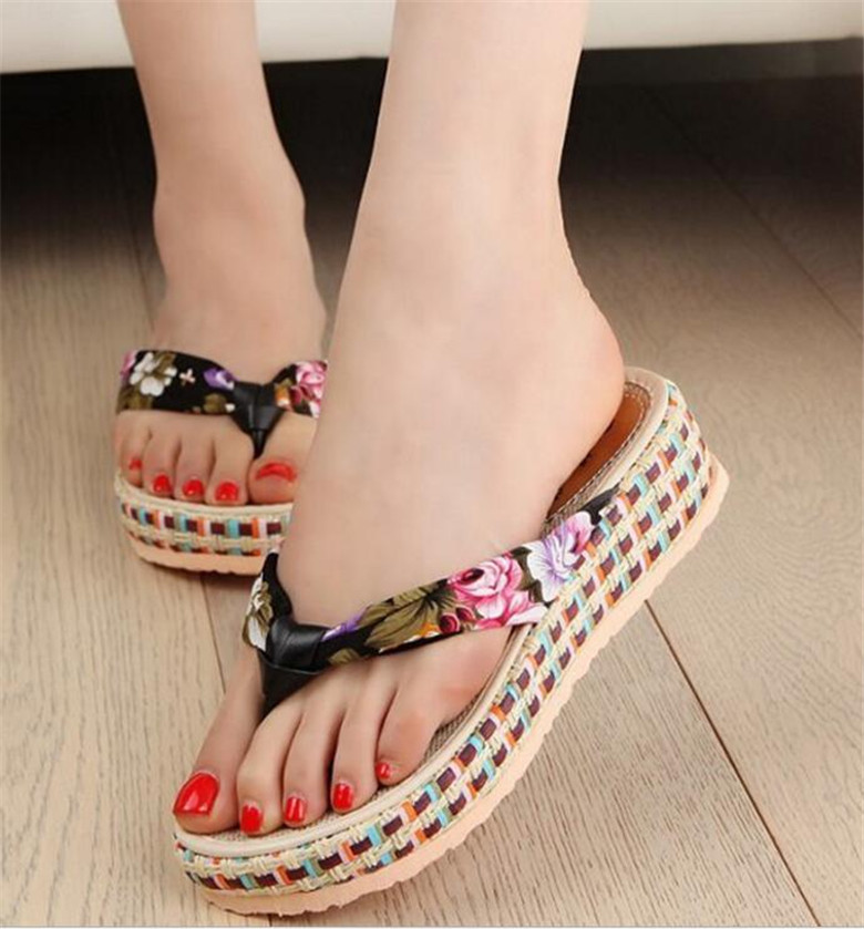 2017 Summer Flip Flops Women Beach Sandals Printing wedges sandals female Shoes women platform shoes slippers sandalias mujer<br><br>Aliexpress
