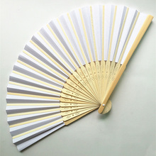1Pc 21cm Summer Chinese Hand Paper Fans Pocket Folding Bamboo Fan Wedding Event Party Favor Decoration Supplies 8z(China)