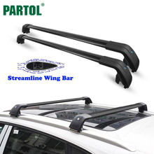 Partol Universal Car Roof Rack Cross Bars Crossbars with Anti-theft Lock 60KG/132LBS Cargo Basket Carrier Snowboard Luggage Top(China)