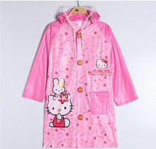 Kawaii PVC Hello Kitty Doraemon Mickey Minnie Raincoat Pincho Child(China)