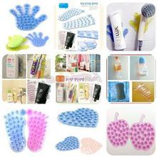 Cute 1PC Novelty Home Product Double Side Suction Magic Plastic Sucker For Bathroom Palm/Feet/Heart/Apple Design Shower Suckers(China)