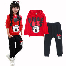 Cartoon Minnie Mouse Clothing Set Kids Tracksuit Girls Fall and Winter Sport Suit Girl Long Sleeve Set Kids Clothes Sports Suit
