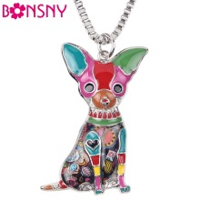 Bonsny Maxi Statement Metal Alloy Chihuahuas Dog Choker Necklace Chain Collar Pendant Fashion New Enamel Jewelry For Women(China)