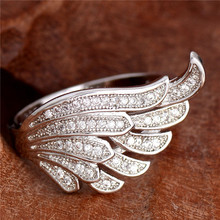 H:HYDE Nice Shipping Fashion silver Color Clear Cubic Zirconia Unique Wings ring  Wedding ring Size 6 7 8 9 10
