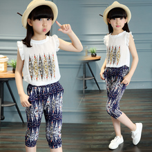 T summer child clothes girls t shirt + Middle pants sets baby sets baby sets girls clothing