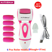 RED USB Rechargeable FOOT CARE TOOL file Callous PEDICURE Electric Exfoliator Callus Remover file +6 Scholls KIMISKY Roller Hea